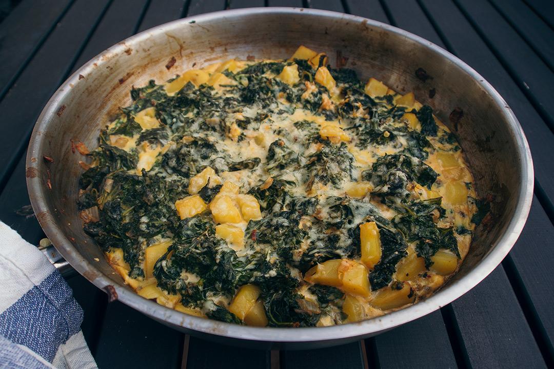 Rezept Für Omelett ei grünkohl und kartoffeln als gebackenes omelett zum frühstück