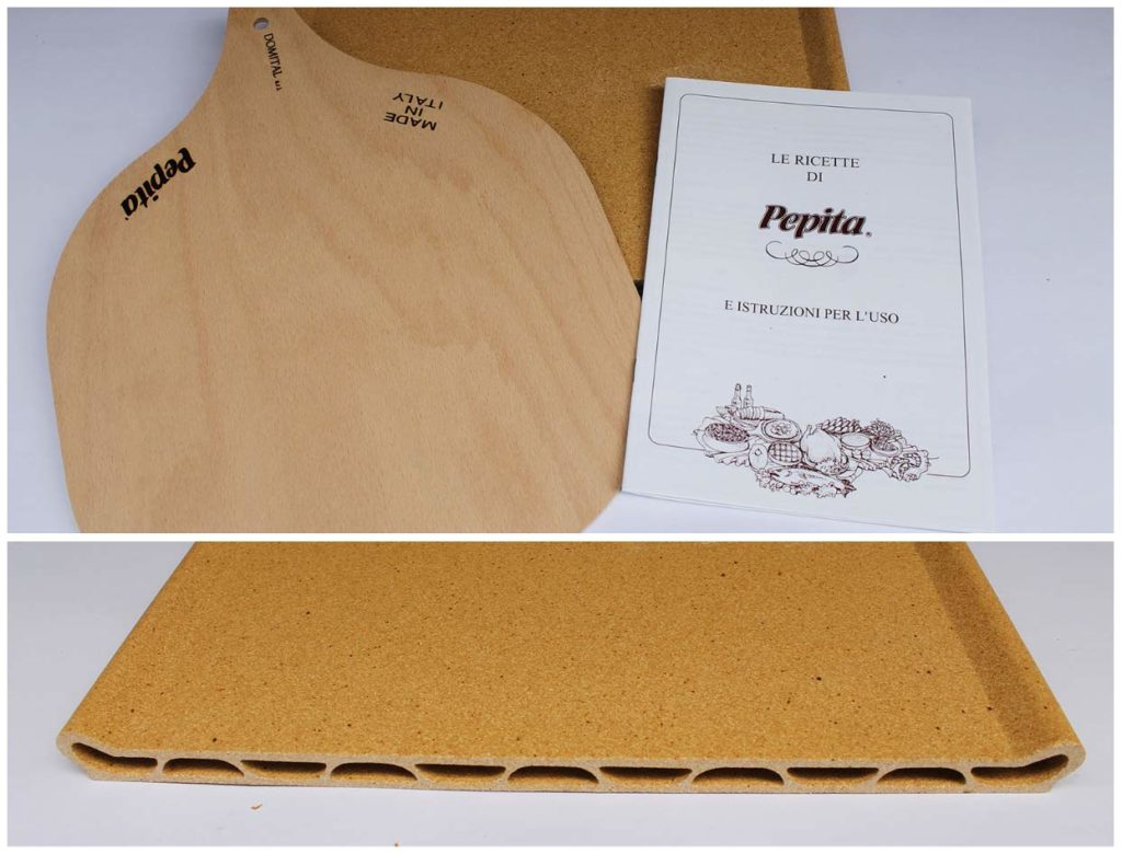 Die Pepita-Tonplatte (Pizzastein) mit Rezepte-Buch und Holzbrett