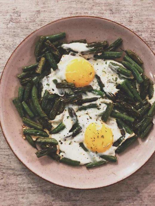 grüne Bohnen zum frühstück